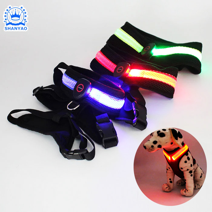 USB Rechargeable LED Pet Harness Safety LED Dog Harness For Walk Lovely Pet