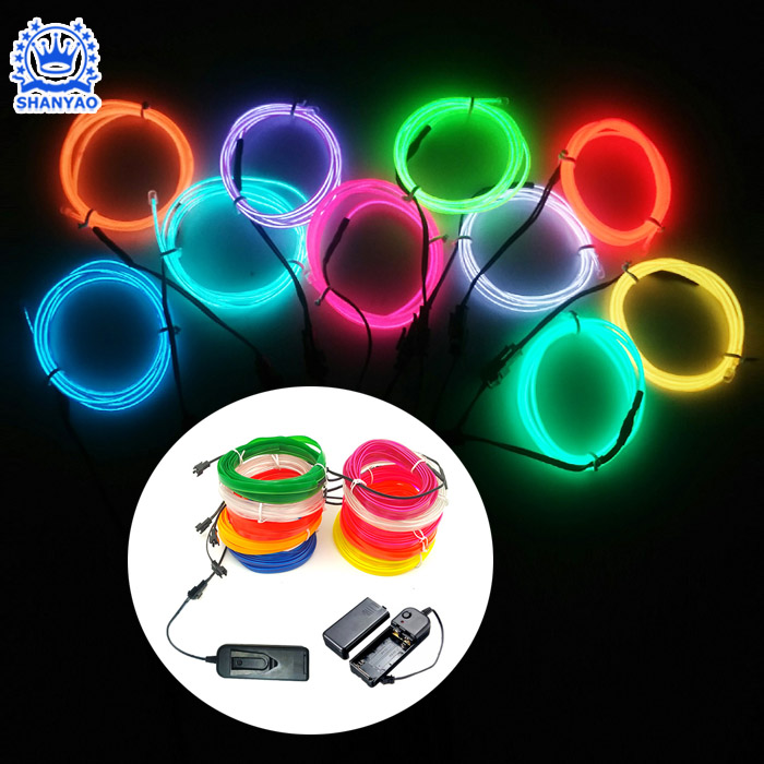Battery Powered EL Luminous Strip for Sew Onto Other Items such as Handbag Vest Coat etc