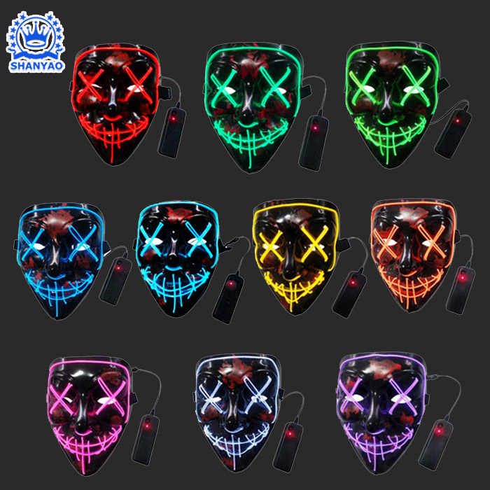Hot Sale EL Luminous Mask for Halloween Christmas etc Festivals or Cosplay etc Party Supplies