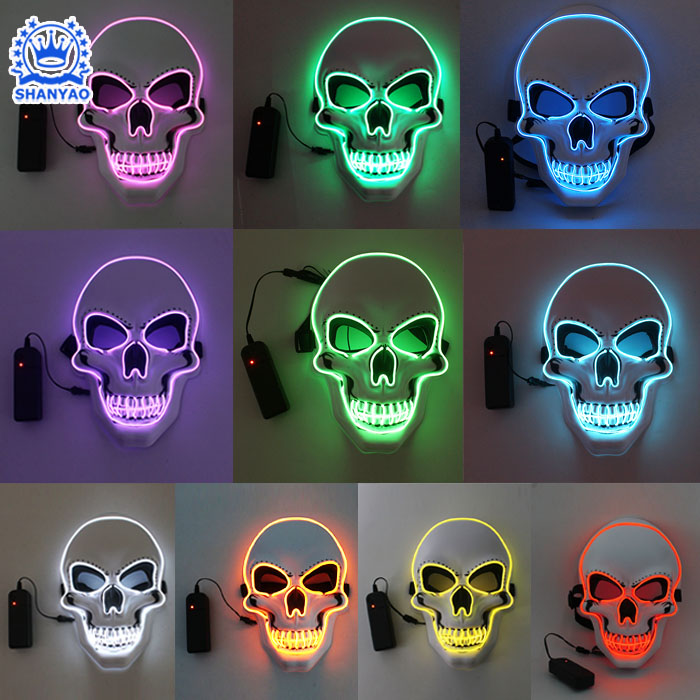 Hot Sale EL Flashing White Skull-Style Mask for Halloween etc Festivals or Cosplay etc Party Supplies